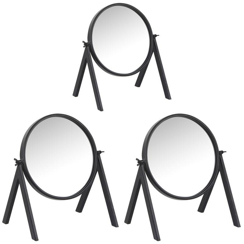 Trio de miroirs ronds sur pied Zinc noir - GAJIL