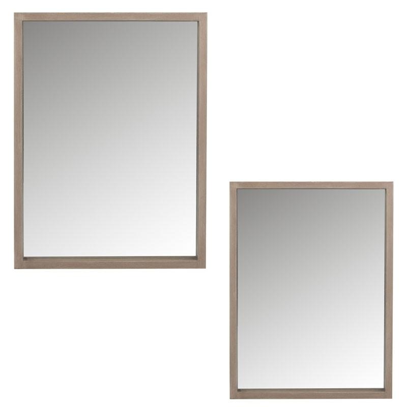Duo de miroirs rectangulaires Bois naturel taille S - ENOLA