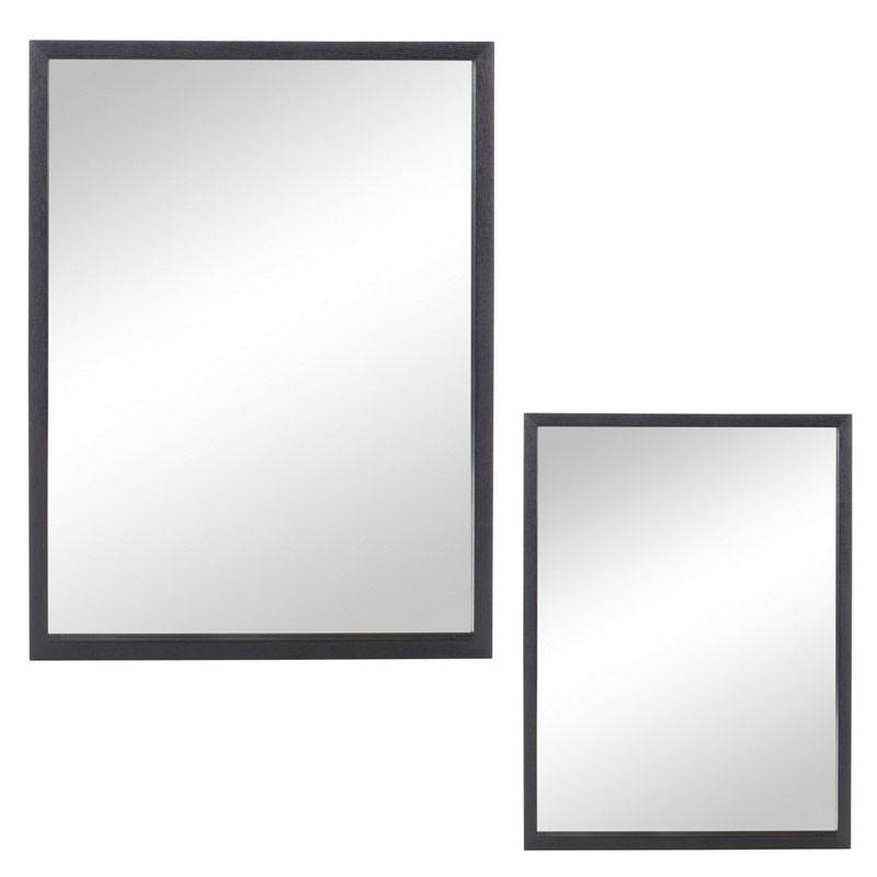 Duo de miroirs rectangulaires Bois noir taille S - ELONA