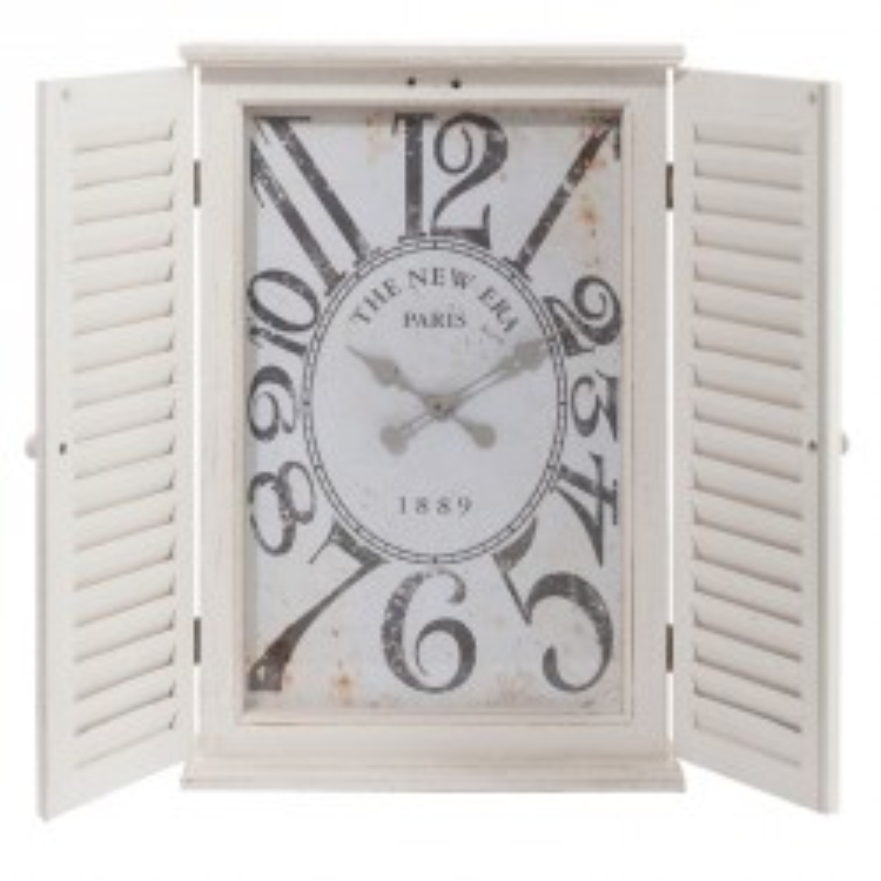 Horloge rectangulaire 2 volets Bois blanc - SEILA