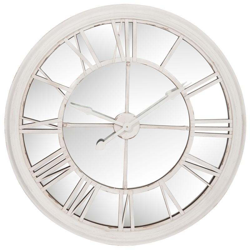 Horloge ronde miroir Bois blanc - MALD