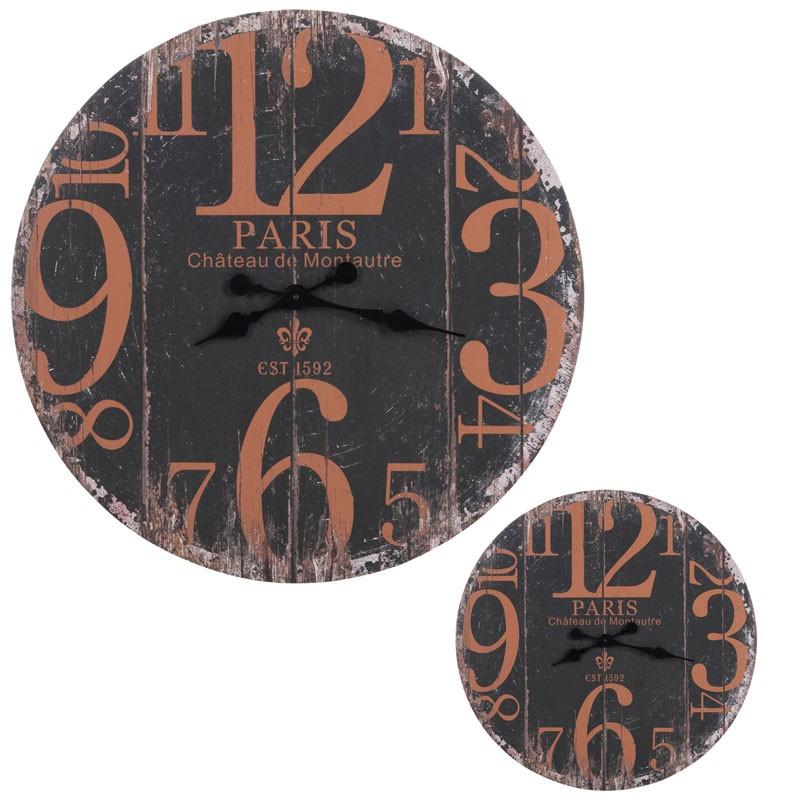 Duo d'horloges rondes Bois noir taille M - PARIGI