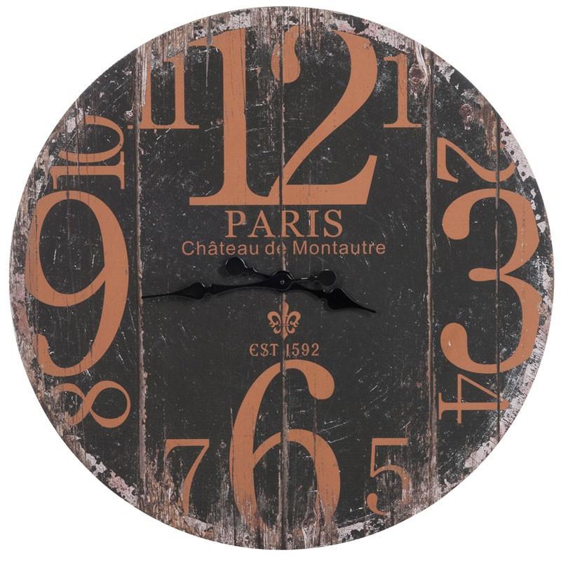 Horloge ronde Paris Bois noir taille L - PARIGI
