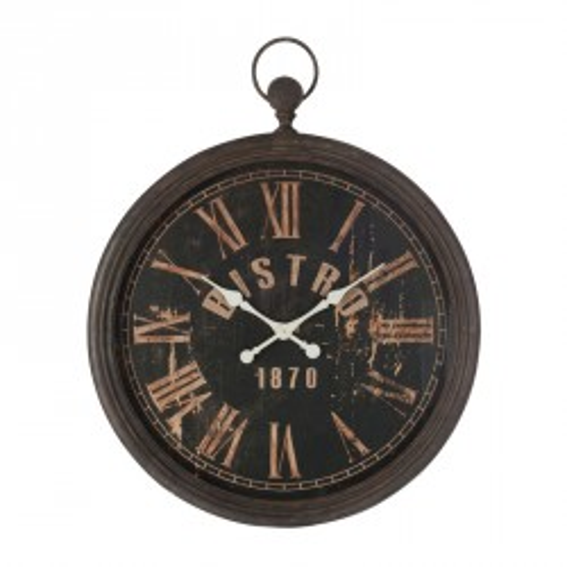 Horloge à suspendre Bistro Métal noir - AARON