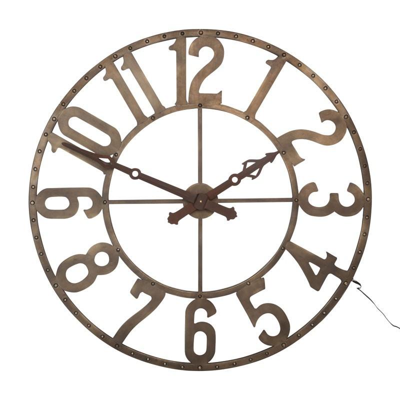 Horloge ronde LED Métal marron - ELIZIO