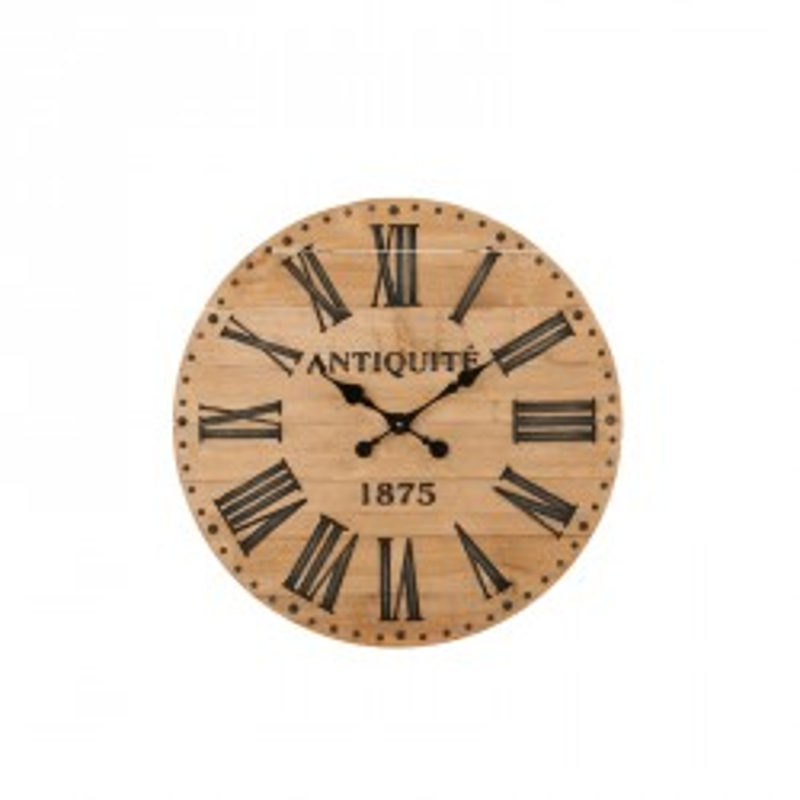 Horloge ronde taille S Bois naturel - COLIN