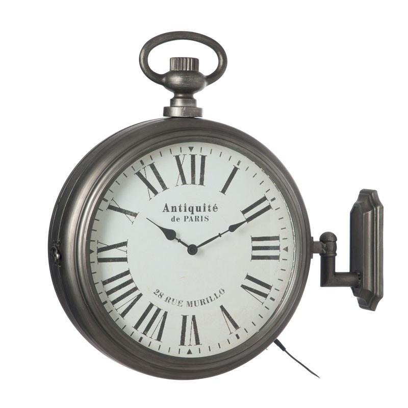 Horloge ronde LEDs Métal gris - AERIS