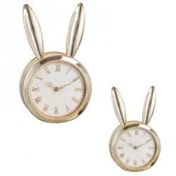 Duo d'horloges lapins résine or - RABBIT