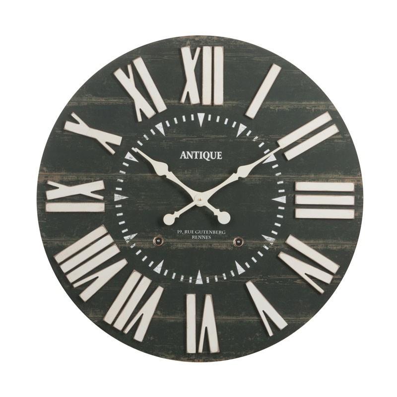 Horloge murale ronde taille M Bois noir - SOHAN