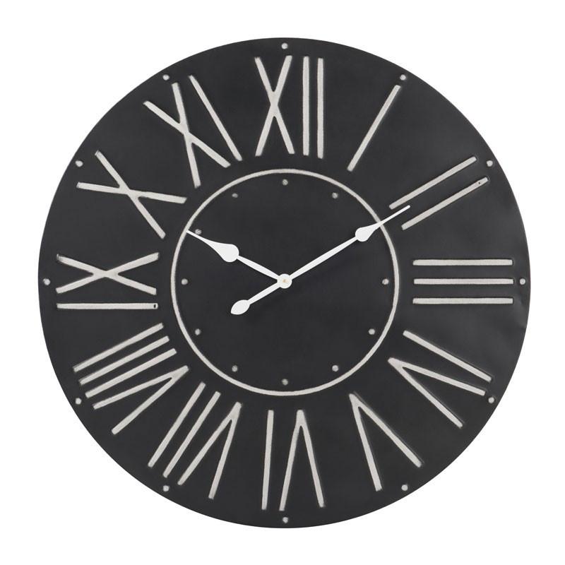 Horloge ronde taille L Métal noir - NANDOU