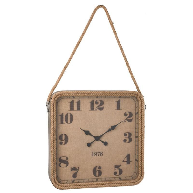 Horloge carré Métal/Corde naturel - OKAPI