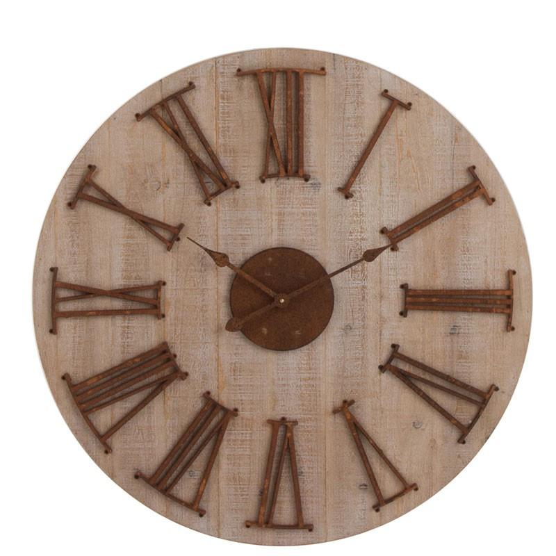 Horloge ronde Bois naturel - LEPTO
