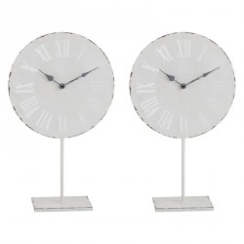 Duo d'horloges sur pied Métal blanc - HIROLA