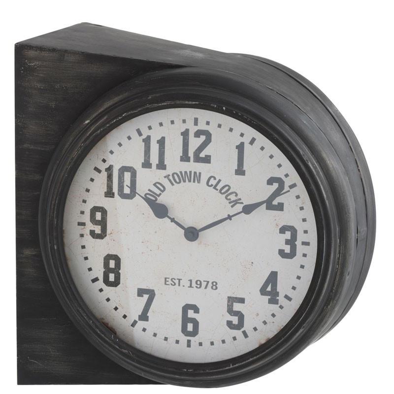 Horloge double face Métal noir - KOUDOU