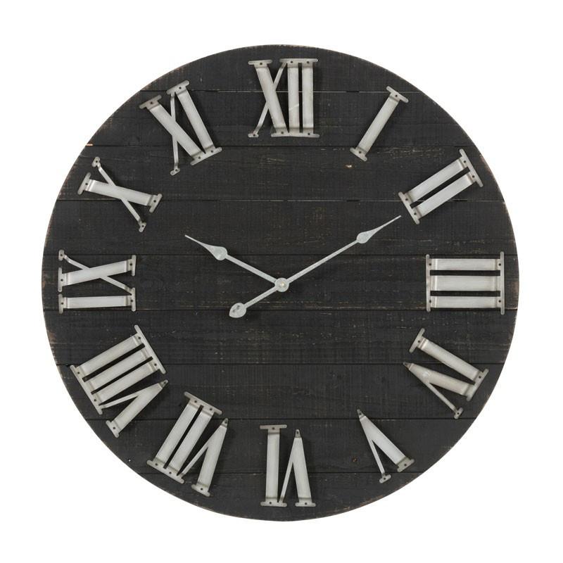 Horloge ronde Bois noir - ORAN