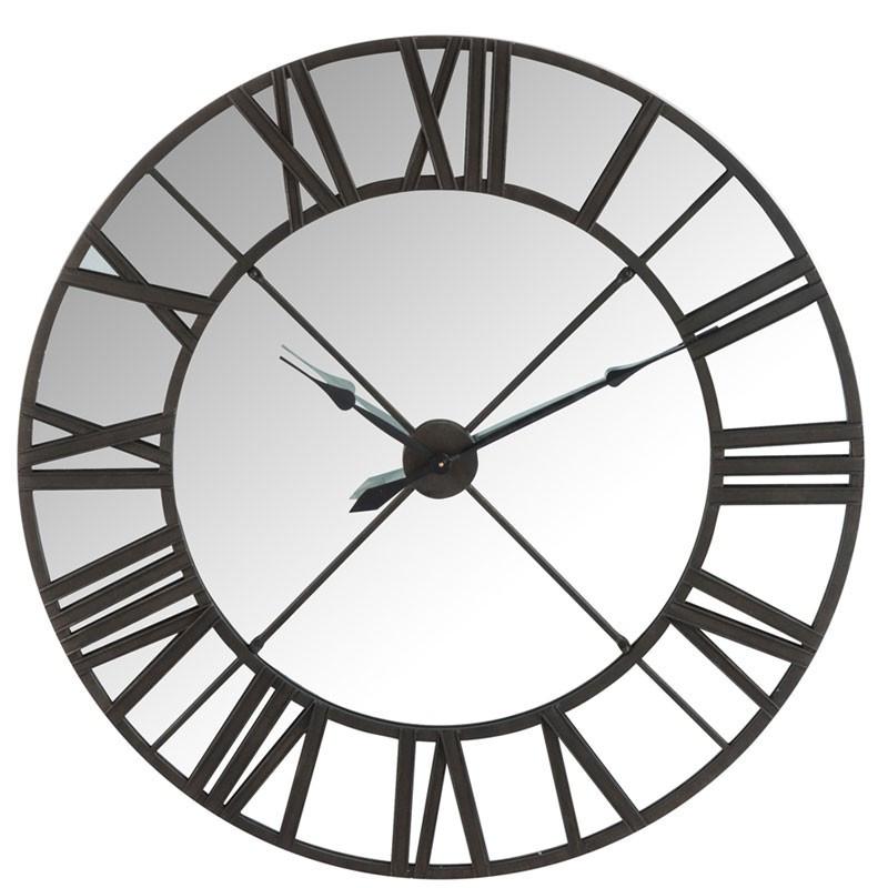 horloge ronde miroir m tal noir mera univers de la d coration. Black Bedroom Furniture Sets. Home Design Ideas