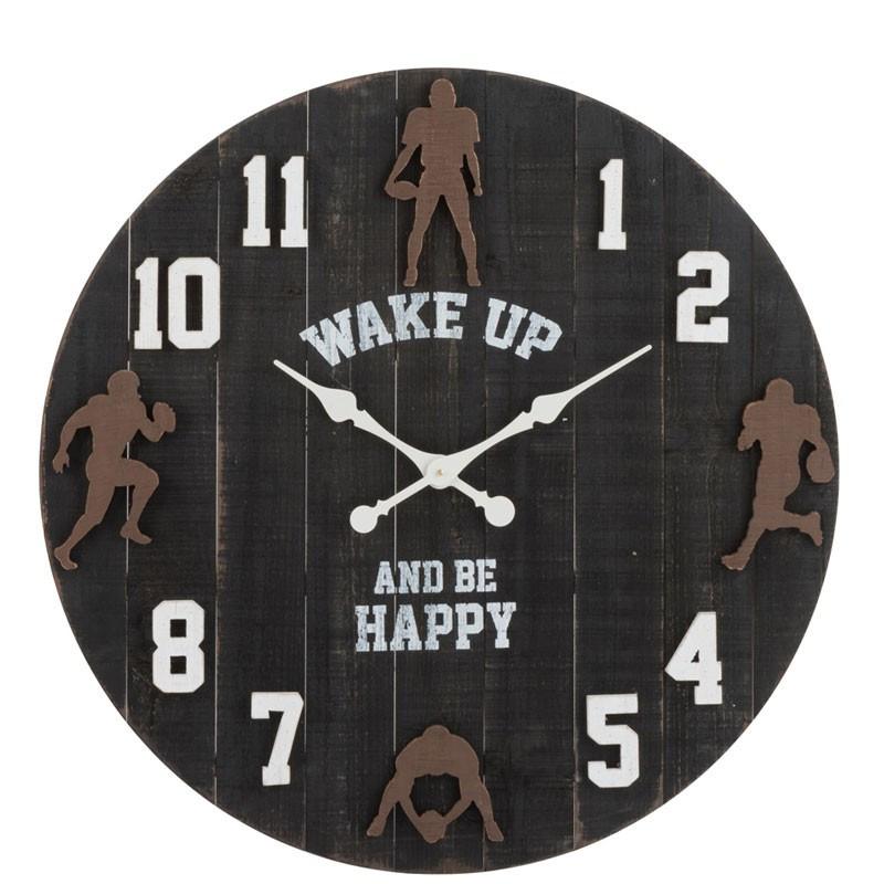 Horloge murale ronde Bois noir - MANNING