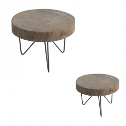 Duo de Tables d'appoints Bois/Métal - AYANA n°3