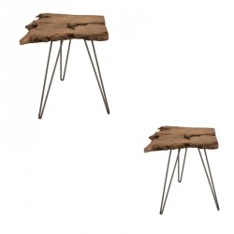 Duo de Tables d'appoints Bois/Métal - MELEA n°1