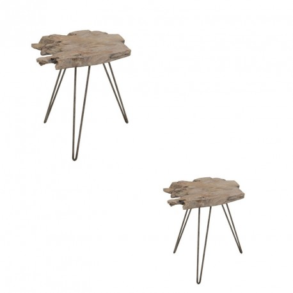 Duo de Tables d'appoints Bois/Métal - MELEA n°2