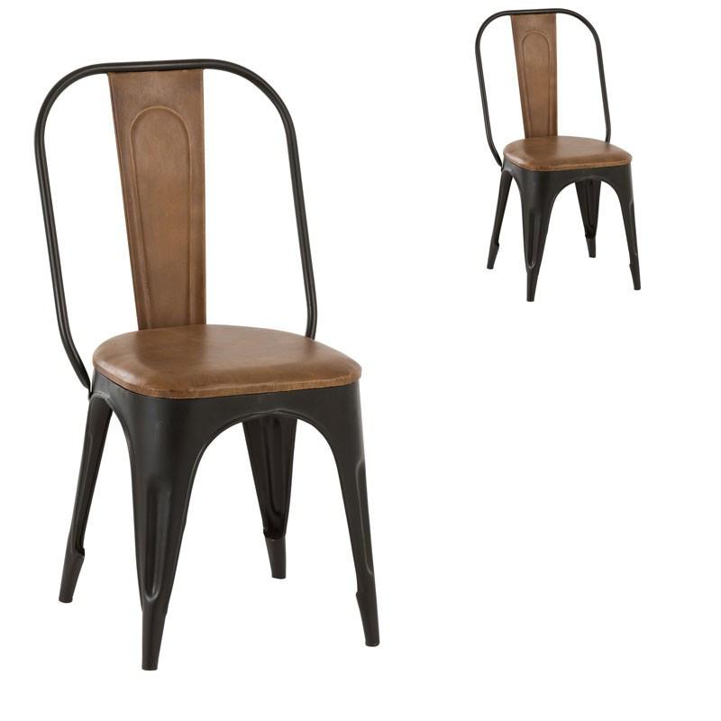 Duo de chaises Cuir camel et Métal - VELENA