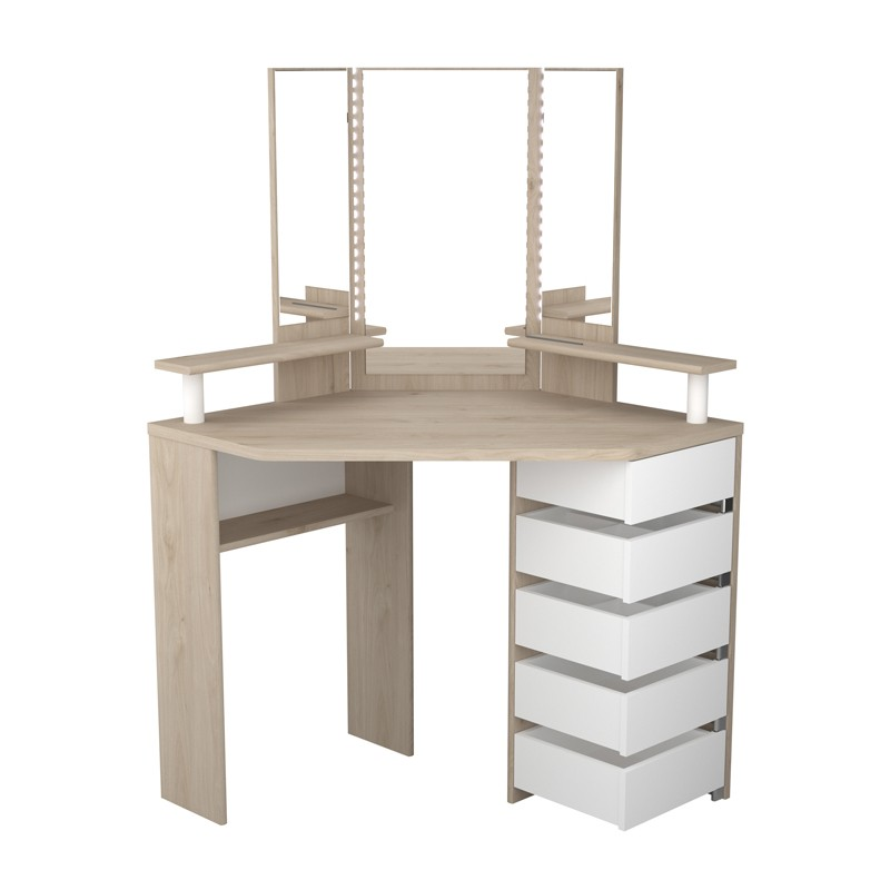 coiffeuse d 39 angle 5 tiroirs ch ne blanc bois vicky univers chambre. Black Bedroom Furniture Sets. Home Design Ideas