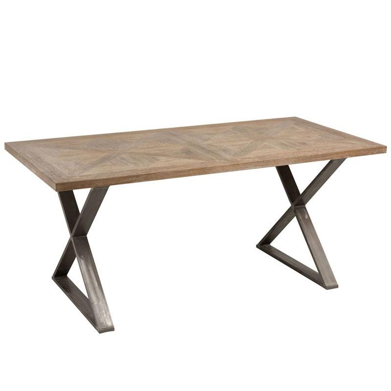 Table de repas Bois de teck et pieds Métal - PIETRO