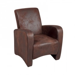 Fauteuil Club Marron microfibre imitation cuir KING - Univers Salon et Assises : Tousmesmeubles