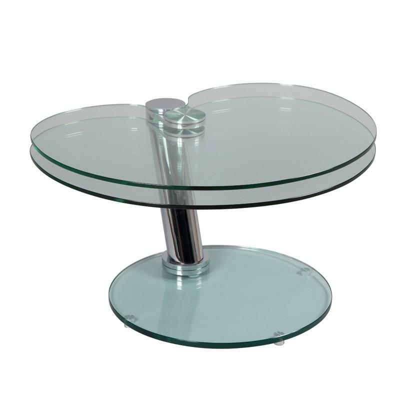Table basse articulée Acier/Verre - GLASS n°2