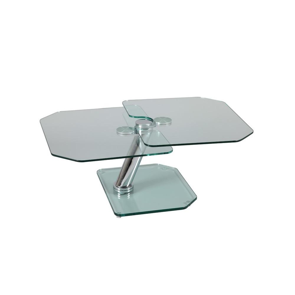 Table basse articulée Acier/Verre moderne - Univers Salon : Tousmesmeubles
