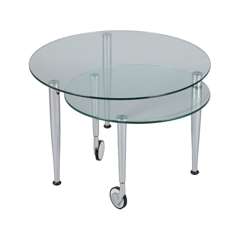 Table basse articulée Acier chromé Verre sur roulettes moderne - Univers Salon : Tousmesmeubles