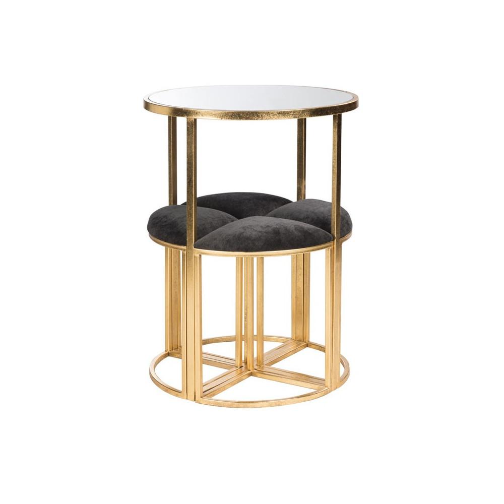 Table haute + tabourets en Métal or - SCINTILL