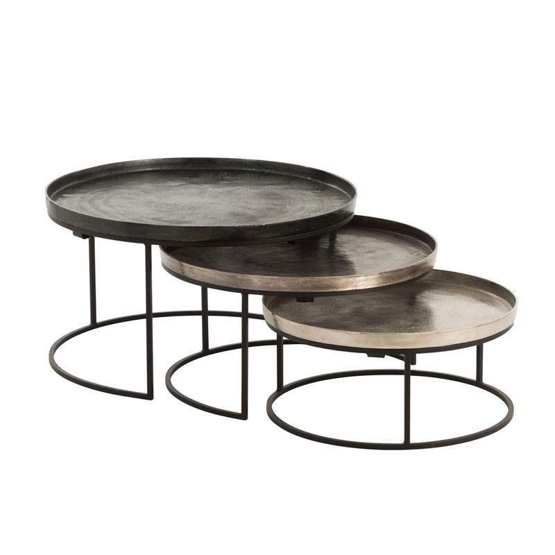 Tables gigognes rondes Noir/Doré - AIVA