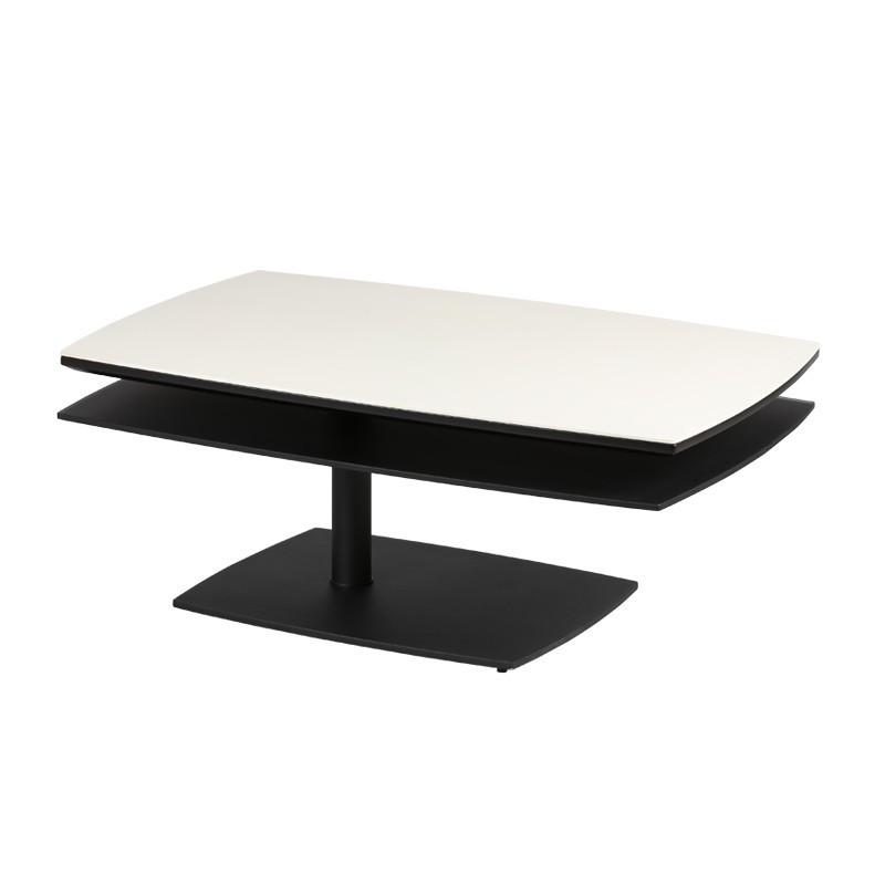Table basse Blanc/Noir métal verre moderne FLAMB - Univers Salon : Tousmesmeubles