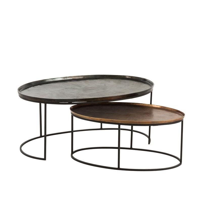 Tables gigognes ovales Noir/Bronze - AIVA