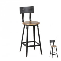 Chaise de bar basse cuisine JACK industriel - Univers Salon et Assises : Tousmesmeubles