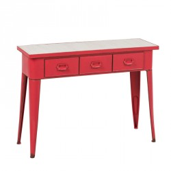 Console rouge 3 tiroirs - LANAH