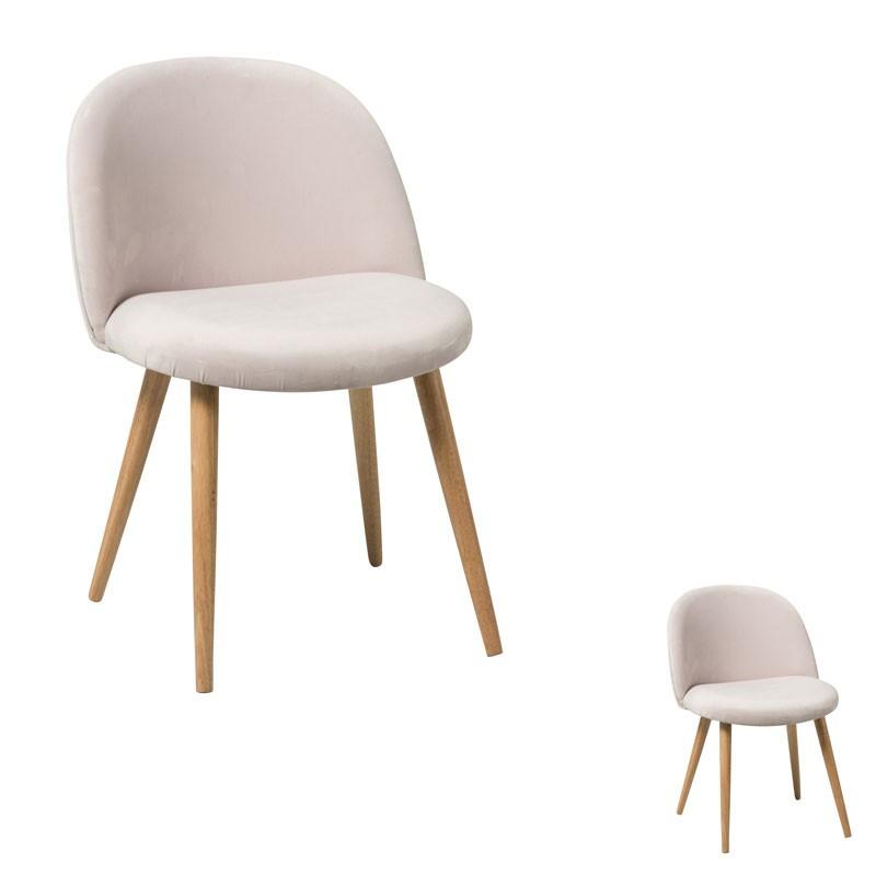 Duo de chaises Velours rose - PENNY