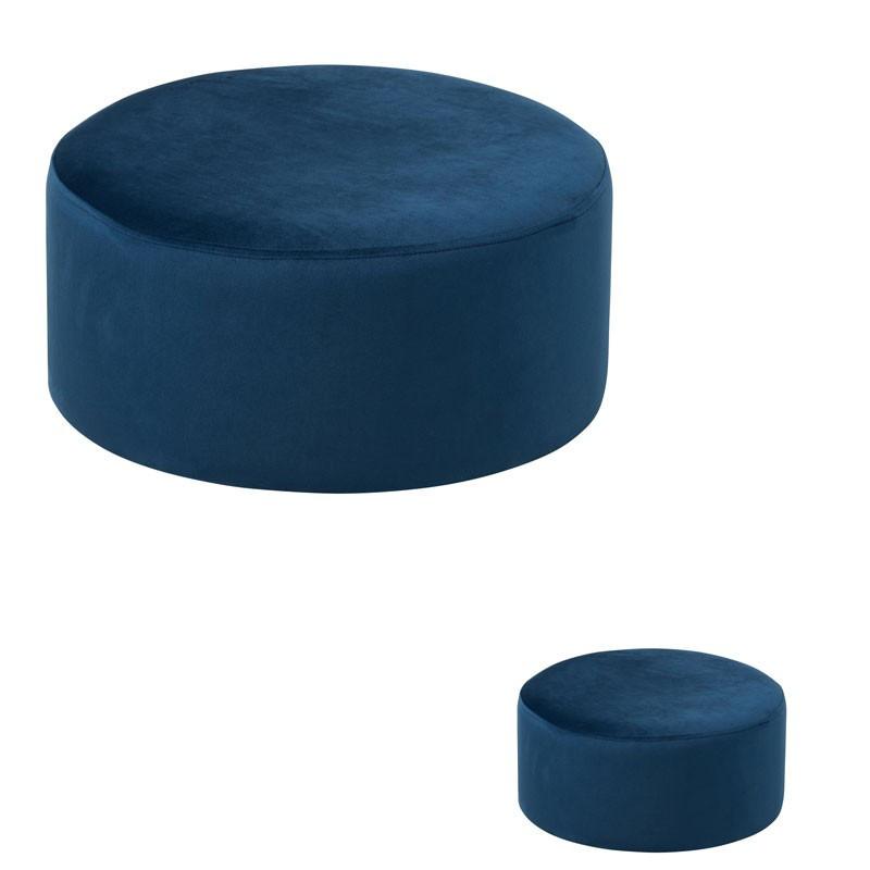 Duo de poufs Velours bleu - PENNY