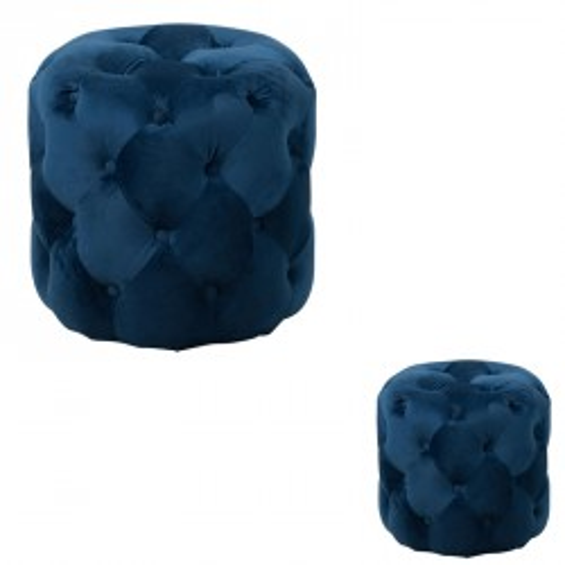 Duo de poufs Velours bleu capitonné - PENNY
