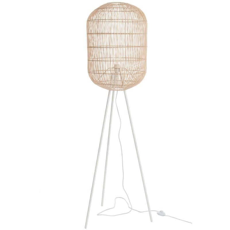 Lampadaire Bambou/Métal blanc - TICQ