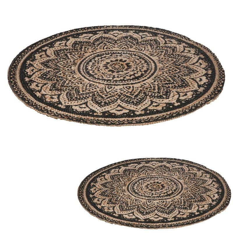 Duo de tapis ronds en jute mosaïque - DEV
