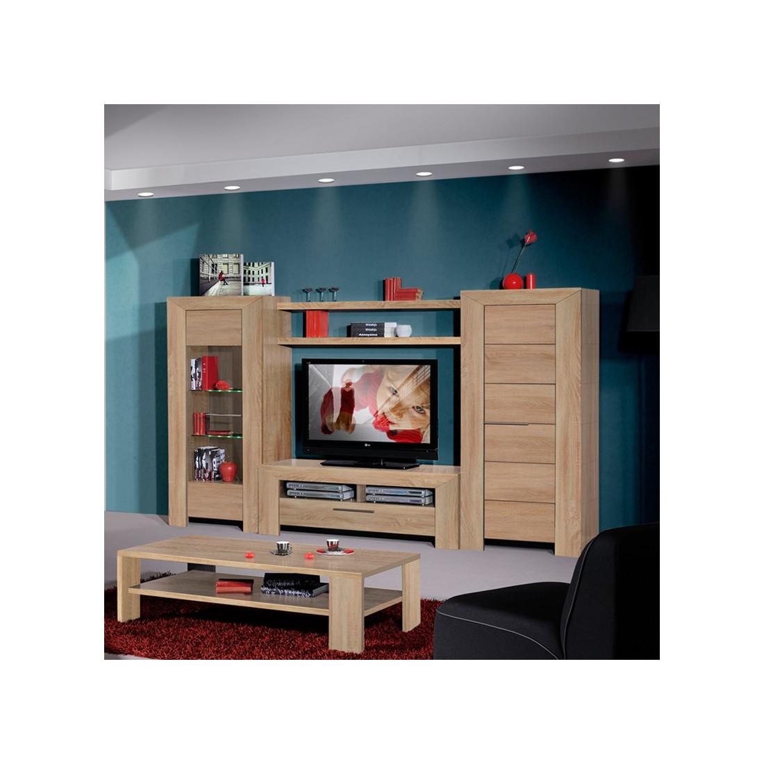 Meuble tv hetre clair maison design for Armoire television salon