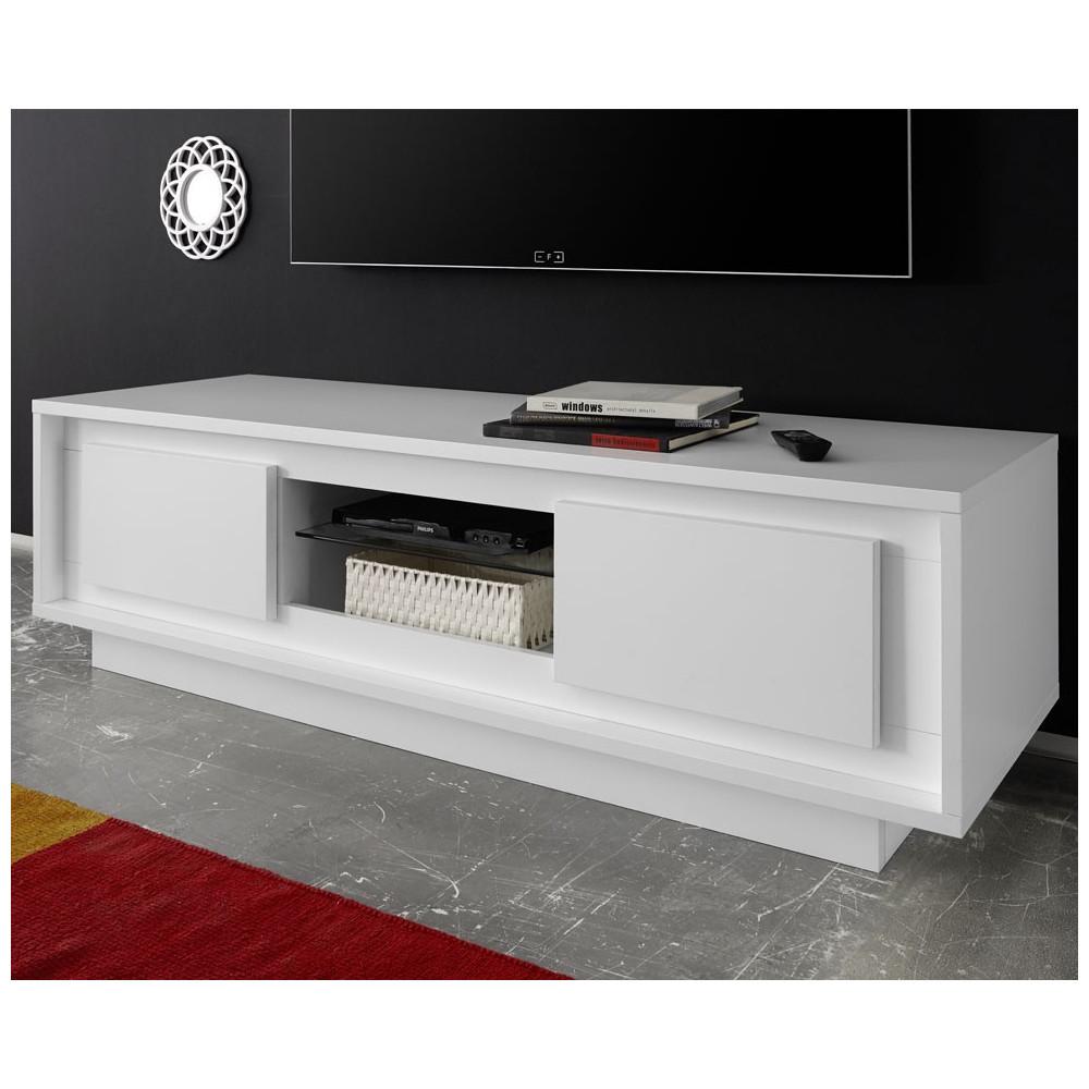 Meuble TV 2 portes blanc mat - RIMINI