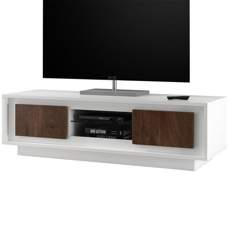 Meuble TV 2 portes Blanc/Chêne foncé - RIMINI