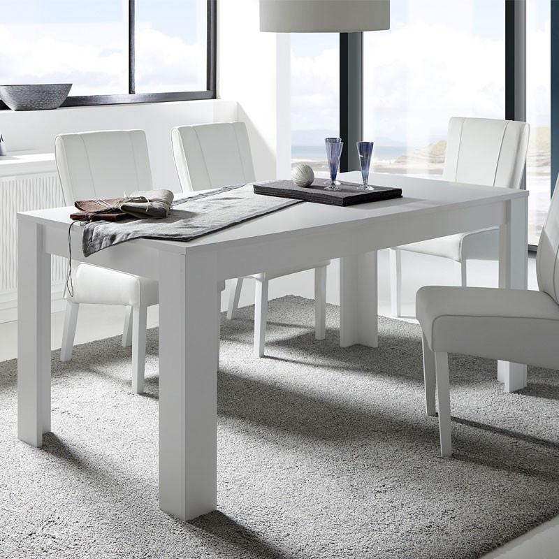 Table de repas rectangulaire blanc mat - RIMINI n°1