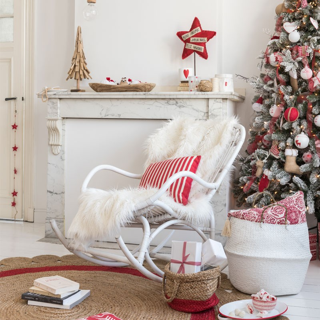 rocking chair bois rotin blanc ricky univers assises et. Black Bedroom Furniture Sets. Home Design Ideas