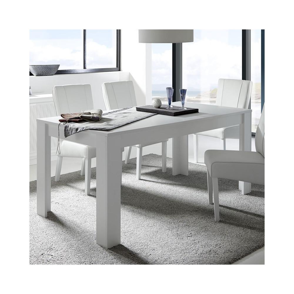 Table de repas rectangulaire blanc mat - RIMINI n°2
