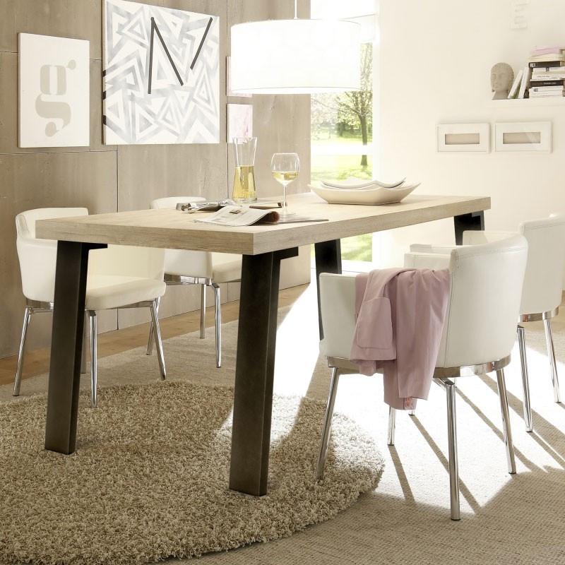 Table de repas Chêne clair/Métal - PALERME n°2