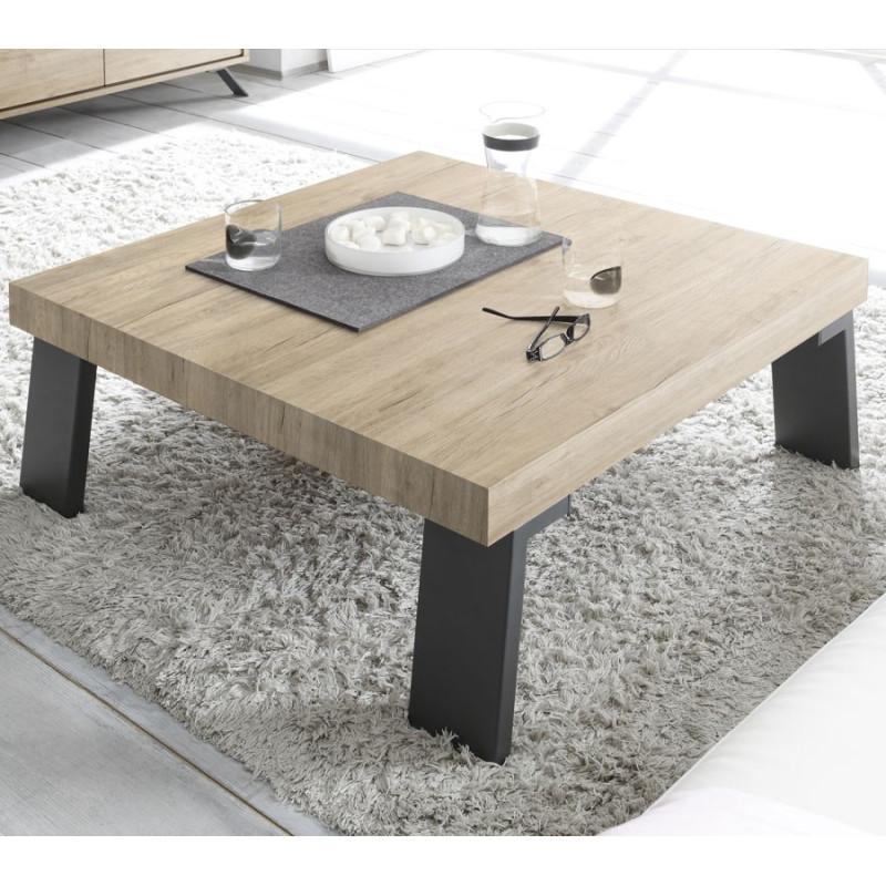 Table basse carrée Chêne clair/Métal - PALERME
